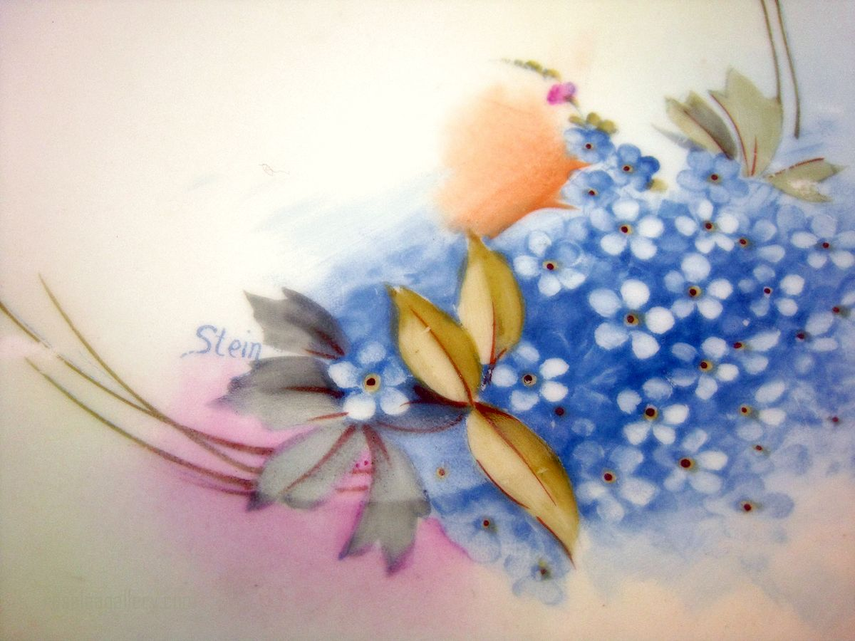 Vintage Blue flower plate, Prussia Royal Ruddelstaent Hand Painted Art